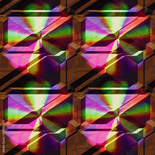 Seamless 3d pattern of pyramidal blocks with spectral rays. Brown background with rainbow pattern © mavie1312