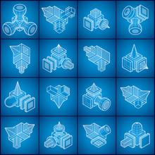 Ingénierie forme abstraite, des vecteurs fixés.