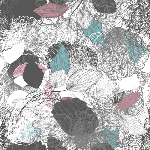 Cotton fabric Seamless Abstract Floral Pattern