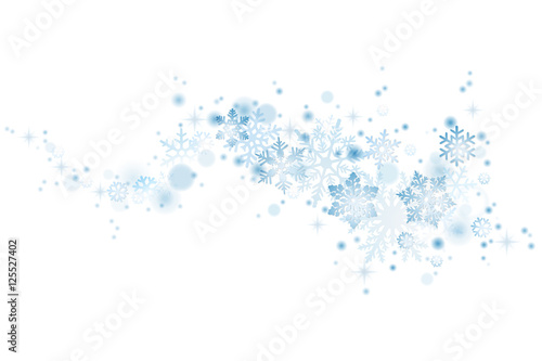 Swirl of blue snowflakes on white background