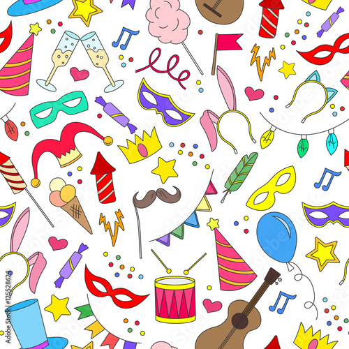 Cotton fabric Seamless pattern on the theme of masquerade and carnival , simple painted icons, black contour on white background