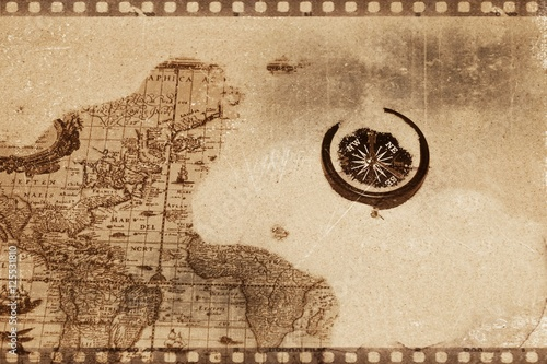 Fototapeta Compass on an old map