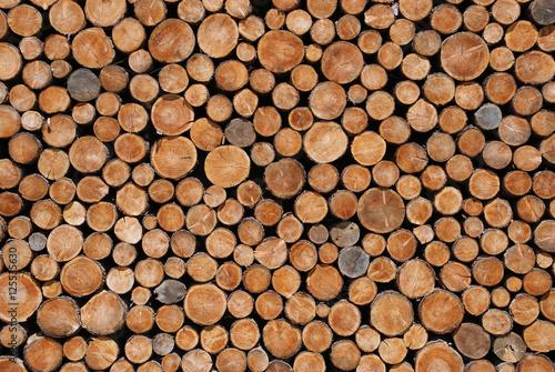 Deurstickers Brandhout textuur Hintergrund aus Holzscheiben