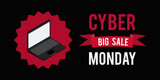 Cyber monday sale banner witn black background.Vector illustration graphic.