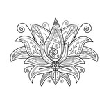 Vector illustration of lotus flower for coloring book, fiore di loto vettoriale da colorare