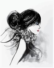 modèle Mode femme avec un foulard