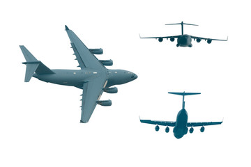 collection of isolated C-17 military airplanes