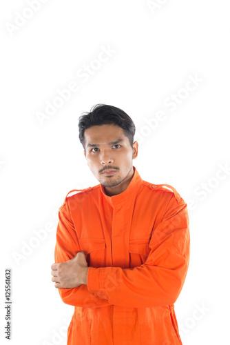 Poster Prisoner man isolated on white background.
