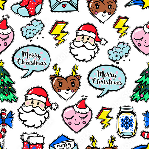 Cotton fabric Christmas seamless pattern with cute comic icons.