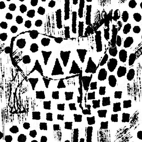 Zebra camouflage abstract seamless pattern - 125564820