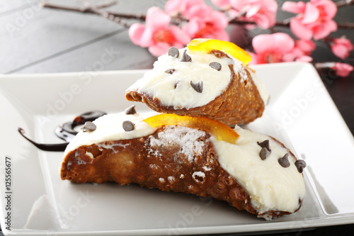 Cannoli from Sicily, with ricotta cream and crispy wafer