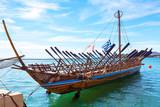 Argo legendary ship copy in port Volos, Greece. Greek mythology Argonauts sailed Argo to retrieve the Golden Fleece