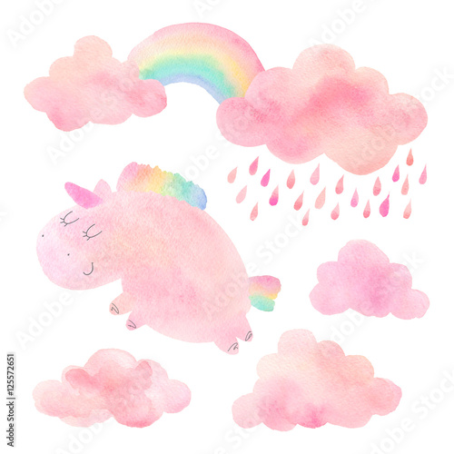 Watercolor unicorn and clouds with rain and rainbow