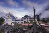 Tengboche Monastery in Tengboche, Morning time. After raining. Everest region, Nepal