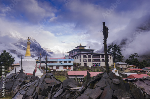 Tengboche Monastery in Tengboche, Morning time Poster
