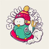bird on snowboard