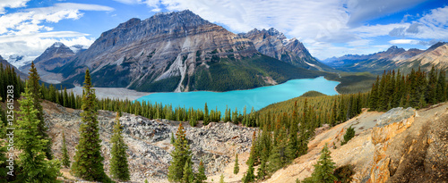 Scenic view of Peyto lake under cloudscape, Banff National Park, Canadian Rocky Mountains. © aiisha