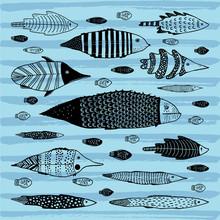 Ensemble de poissons drôles