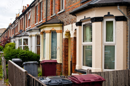 Poster Row of Typical English Terraced Houses