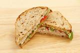 Sandwich on chopping board