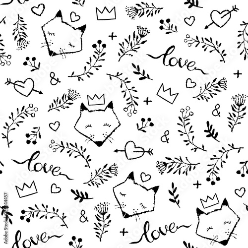 Cotton fabric Vector seamless pattern with hand drawn cute foxes isolated on w