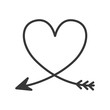 silhouette of heart with arrow vector illustration - 125657005