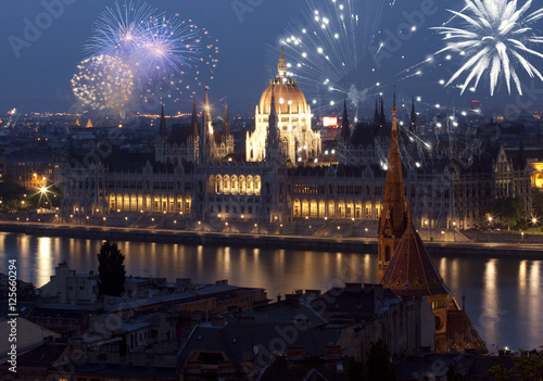 New Year in the city - Budapest with fireworks