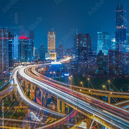 In de dag Tunnel Aerial View of Shanghai overpass at Night in China.
