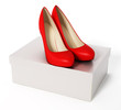 Women shoes and white box. 3d illustration