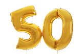 Fototapety Golden birthday balloons on light background
