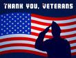 Постер, плакат: Спасибо ветераны Фон плакат открытка Солдат отдает честь на фоне американского флага Редактируемый файл