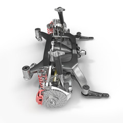 Car Shock Absorber and Spring on white. 3D illustration