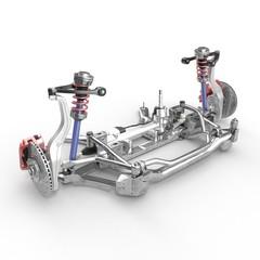 Sedan Front Suspension on white. 3D illustration