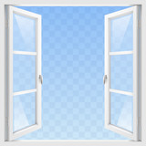 White Classic wooden open window with transparent glass. Vector graphics - 125705060