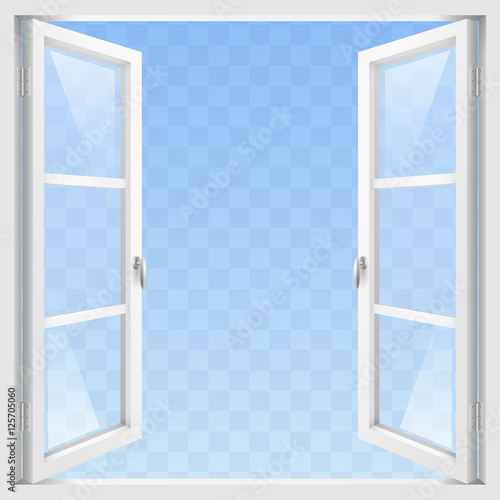 White Classic wooden open window with transparent glass. Vector graphics