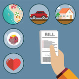 Paying bills, hand holding bills vector