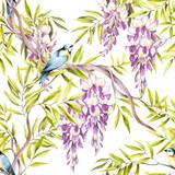 Naklejka Seamless pattern with wisteria. Hand draw watercolor illustration