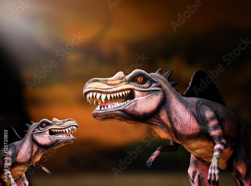 Poster dinosaur family with dark background, spinosaurus