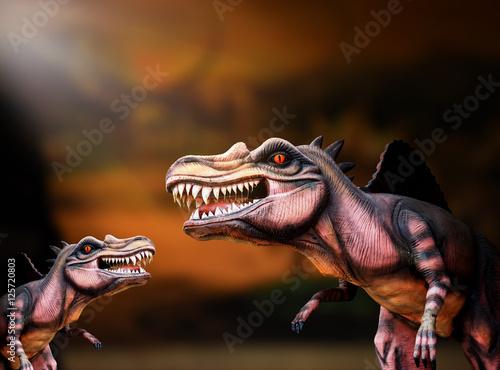 Poster dinosaur family with dark background, spinosaurus