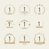 One year anniversary celebration logotype. 1st anniversary logo set. - 125741260