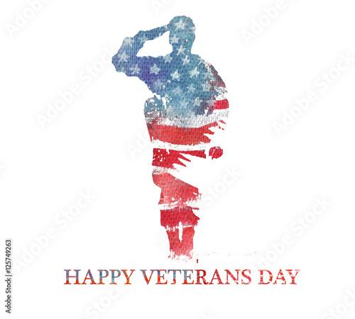 Watercolor illustration.Vegterans day. America, USA flag.
