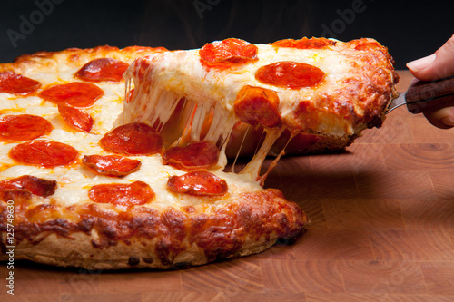 Staande foto Pizzeria Pepperoni Pizza Cheese Pull - Food Photography