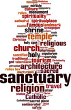 Sanctuary word cloud concept. Vector illustration