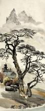 paysage chinois avec un arbre