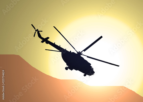 Poster illustration of silhouette of military helicopter MI-17 flying over the desert i