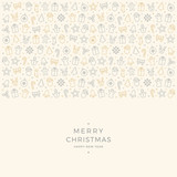 christmas element icons gold gray border background - 125767803