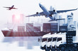 Detaily fotografie container truck ,ship in port and freight cargo plane in transport and import-export commercial logistic ,shipping business industry
