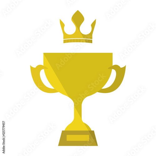 Foto op Canvas gold trophy award icon over white background. vector illustration