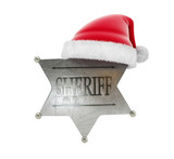 sheriffs badge santa hat 3d Illustrations on a white background