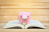 Pink Piggy bank on book in wooden room background.